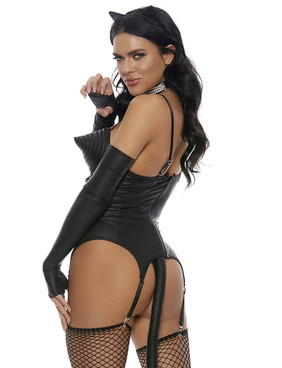 On Point Black Cat Costume by Forplay FP-559627, Back View