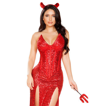 R-4911, Sexy Devil Glitter Dress Costume by Roma