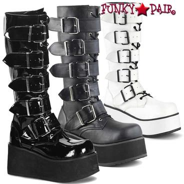 Demonia TRASHVILLE-518 Platform Goth Punk Knee Boot with 5 Buckles