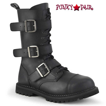 RIOT-12, Punk Strap Boots Black Vegan Leather by Demonia