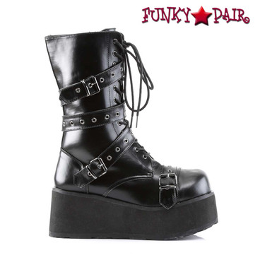 Demonia TRASHVILLE-205, Platform Goth Punk Calf Boot with Wrap Around Strap