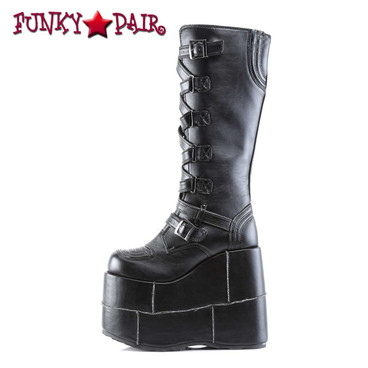 Demonia | Men STACK-308, Goth Cyber Punk Knee Boots