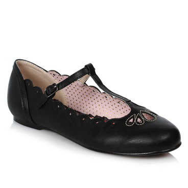 BP100-MAILA, Black Flat T-Strap Ballet by Bettie Page Shoes