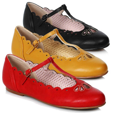 Bettie Page Shoes   BP100-MAILA, Flat T-Strap Ballet