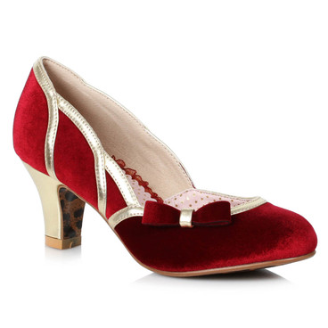 BP250-Camille, Red Suede Pump by Bettie Page Shoes