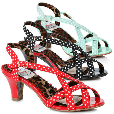 Bettie Page Shoes | BP250-Gracie, Peep Toe Sling Back Sandal