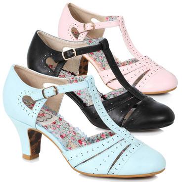 Bettie Page Shoes   BP250-Maisie, T-Strap Cut out Sandal