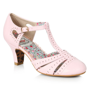 BP250-Maisie, Pink T-Strap Cut out Sandal by Bettie Page Shoes