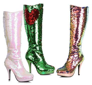 "Ellie Shoes | 421-Gillian, 4"" Flip Sequin Boots"