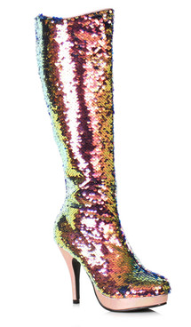 "421-Gillian, 4"" Flip Rose Gold Sequin Boots by Ellie Shoes"