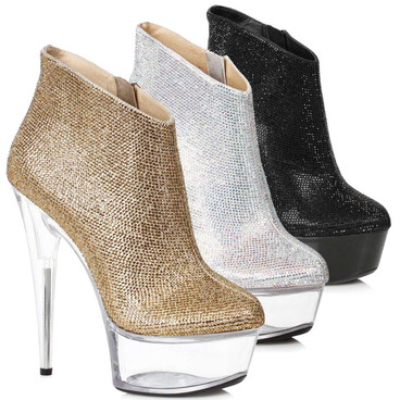 Ellie Shoes | 609-Andi, Rhinestones Ankle Stripper Boots