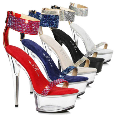 Ellie Shoes | 609-Anika, Platform Sandal with Rhinestones Cuff