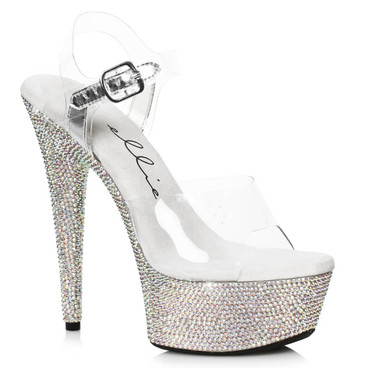 609-Maxine, 6 Inch Clear Ankle Strap Rhinestones Sandal by Ellie Shoes