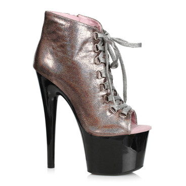 709-Zaylee, 7 Inch Peeptoe Pewter Shimmer Dancer Boots by Ellie shoes