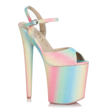 850-Bubble, 8 Inch Glitter Platform Sandal by Ellie Shoes