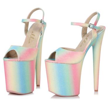 Ellie Shoes   850-Bubble, 8 Inch Glitter Platform Sandal