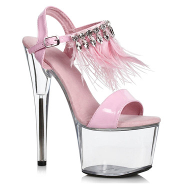 709-Zahra, Pink/Clear 7 Inch with Rhinestones and Feathers by Ellie Shoes