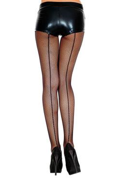 Black Backseam Spandex Fishnet Pantyhose by Music Legs ML-924