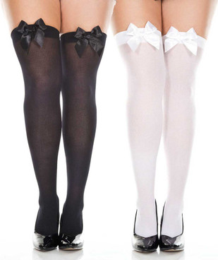 Plus Size  Satin Bow Opaque Thigh High Stockings by Music Legs ML-4742Q