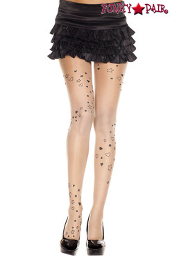 Music Legs | ML-7202, Heart and Star Print Pantyhose
