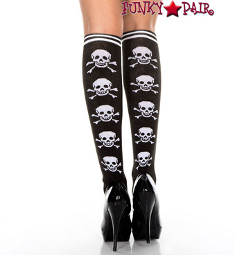 Music Legs ML-5712, Cross Bone Print Knee High