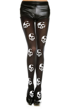 Skull Print Tights by Music Legs ML-37349