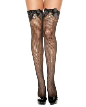 Handcuff Fishnet Thigh High Stockings by Music Legs ML-4940