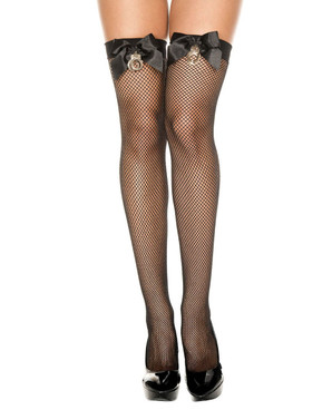 Handcuff Fishnet Thigh High Stockings by Music Legs ML-4940