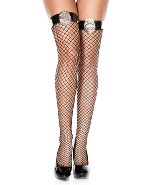 Police Badge Fishnet Thigh High Stockings by Music Legs ML-4814