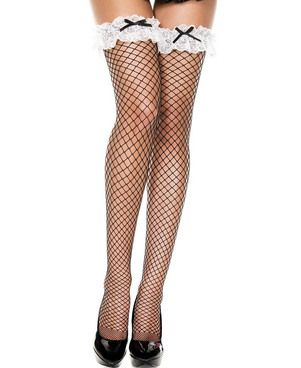 Wide Ruffle Lace French Maid Thigh High Stockings by Music Legs ML-4828