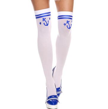 Sailor Anchor Print Thigh High Stockings by Music Legs | ML4840