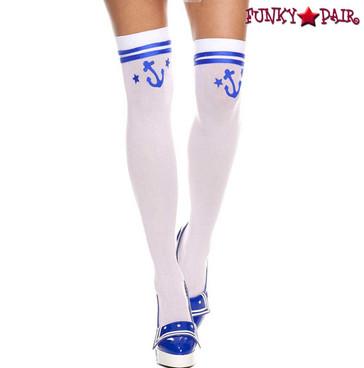 Music Legs | ML4840, Sailor Anchor Print Thigh High Stockings
