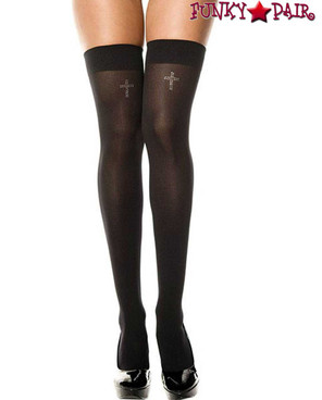 Music Legs ML-4755, Rhinestones Cross Thigh High Stockings