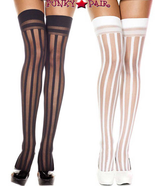 Music Legs | ML-4756, Vertical Striped Thigh High Stocking
