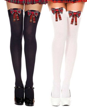 Plaid Bow Stocking by Music Legs | ML-4654