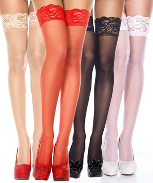 Silicone Lace Up Sheer Stockings by Music Legs ML-4139