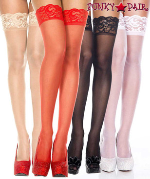 Music Legs ML-4139, Silicone Lace Up Sheer Stockings
