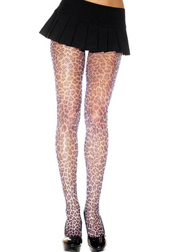Leopard Print Fishnet Pantyhose by Music Legs ML-696