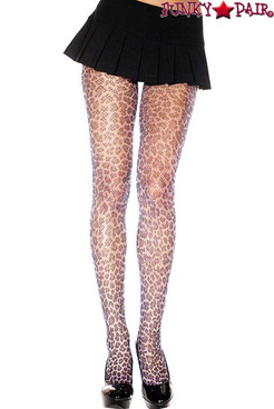 Music Legs ML-696, Leopard Print Fishnet Pantyhose