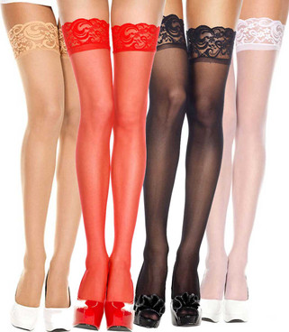 Sheer Lace Top Stockings by Music Legs | ML-4110