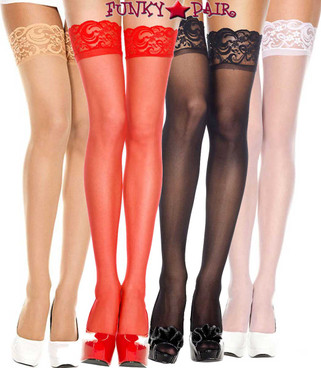 Music Legs | ML-4110,  Sheer Lace Top Stockings