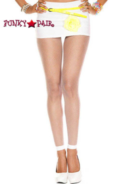 White Fishnet Footless Leggings by Music Legs ML-9005