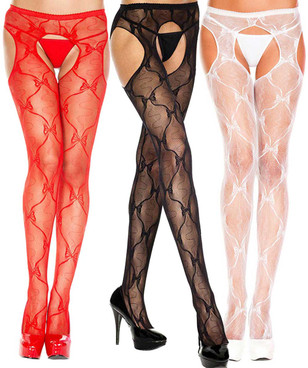 Music Legs | ML-933, Bow Lace Suspender Pantyhose