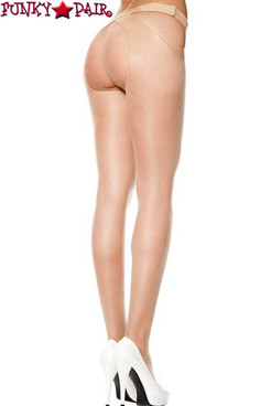 Crotchless Sheer Beige Pantyhose by Music Legs | ML-334