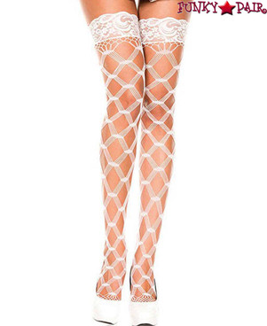Multi Strands Net Stockings by Music Legs ML-45437 color White