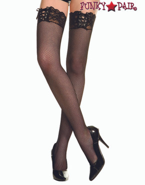 ML-4980, Ribbon Lacing Black Fishnet Thigh Highs Stocking by Music Legs