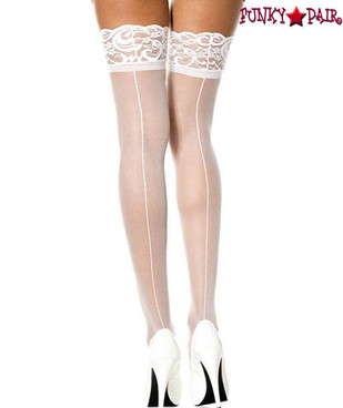 ML-4119, White Lace Top Thigh High Stocking with Back Seam by Music Legs