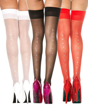 Rhinestones Sheer Stockings by Music Legs  ML-4143