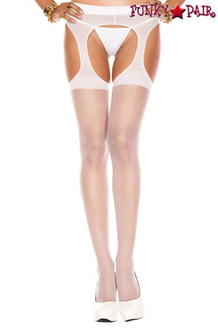 Sheer Suspender White Pantyhose by Music Legs | ML-338