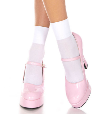White Opaque Ankle High by Music Legs ML-512